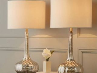 Abbyson Silver Mercury Antiqued Glass 28 inch Table lamp Set of 2 Retail 164 99