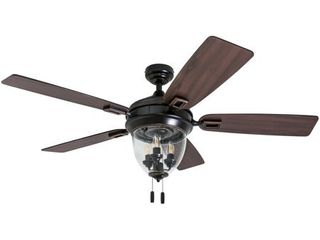 Honeywell Glencrest 52  Craftsman Industrial Oil Rubbed Bronze lED Outdoor Ceiling Fan with light