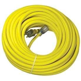 Utilitech Pro 100 ft 20 Amp 125 Volt 10 Gauge Yellow Outdoor Generator Cord missing adapter