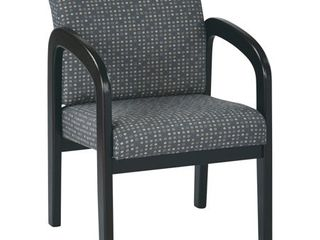 Office Star Espresso Wood Reception Waiting Room Chair with Ash Fabric Upholstry