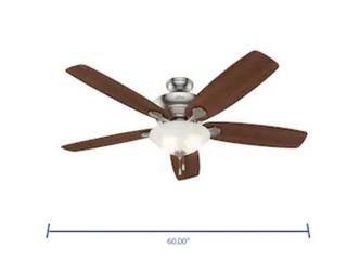 Hunter Regalia Ii 60 in Brushed Nickel led Indoor Ceiling Fan With light Kit