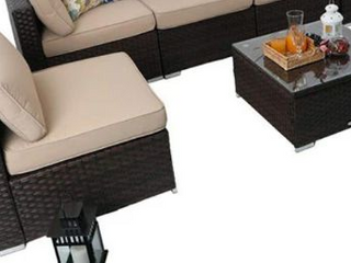 Phi Villa Outdoor Rattan Sofa seat without armrest plus table and cushion  Retail 838 99