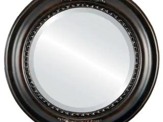 Framed round mirror in rubbed bronze