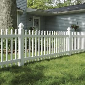 Gatehouse Arborley White Gothic Picket Vinyl Fence Panel Common  36 in x 8 ft  Actual  34 in x 7 65 ft