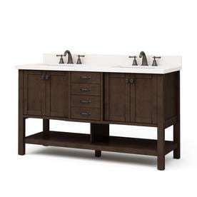 allen   roth Kingscote Espresso Double Sink Vanity Only As Is see photos Common  60 in x 22 in