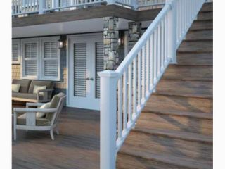 Deckorators Grab and Go 6 ft x 2 75 in x 36 in White Composite Deck Deck Rail Kit with Balusters   As Is