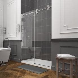 allen   roth 58 in to 60 in W x 78 7 in H Chrome Sliding Shower Door