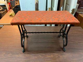 Rod iron and fabric foot stool