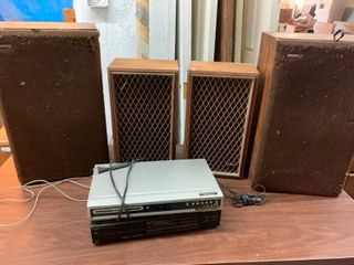DVD and VHS player with speakers