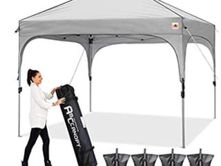 ABCCANOPY Canopy Tent Pop Up Canopy Outdoor Canopies Super Comapct Canopy Portable Tent Popup Beach Canopy Shade Canopy Tent with Wheeled Carry Bag Bonus 4xWeight Bags 4xRopes 4xStakes  Gray