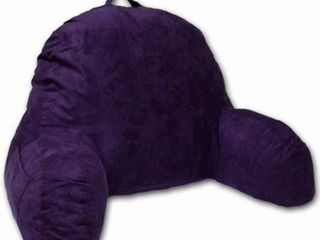 Deluxe Comfort Microsuede Bed Rest Reading and Bed Rest lounger Sitting Support Pillow Soft But Firmly Stuffed Fiberfill   Backrest Pillow With Arms  Purple 2 pack