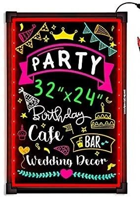 Woodsam lED Message Writing Board   32 x24  Flashing Illuminated Erasable Neon Sign with 8 Fluorescent Chalk Markers   Perfect for Shop Cafe Bar Menu Wedding Decoration School