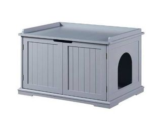 Unipaws Designer Cat Washroom Storage Bench  litter Box Cover with Sturdy Wooden Structure  Spacious Storage  Easy Assembly  Fit Most of litter Box  Gray