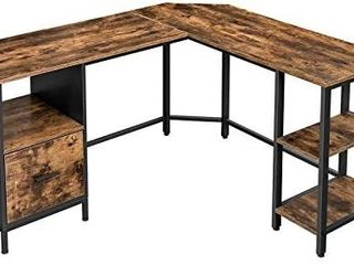 VASAGlE Corner Desk  l Shaped Computer Desk  Office Desk with Cupboard and Hanging File Cabinet  2 Shelves  Home Office  Space Saving  Easy Assembly  Industrial Design  Rustic Brown and Black lWD75X