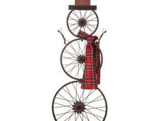 6 Pack Glitzhome Metal Bike Wheel Snowman with Plaid Scarf Porch Decor Kit Contains 6 Units