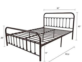 Metal Bed Frame Queen Size Headboard and Footboard The Country Style Iron Art Double Bed The Metal Structure  Antique Bronze Brown Baking Paint Sturdy Metal Frame Premium Steel Slat Support