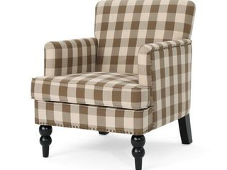Eve Tufted Fabric Club Chair  Brown Checkerboard and Espresso