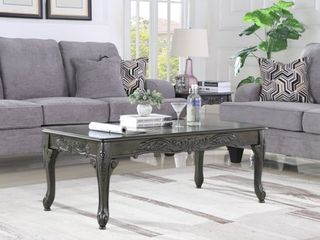 Roundhill Traditional Ornate Detailing Grey Finish Wood Coffee Table