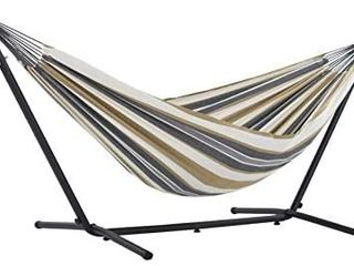 Vivere Double Cotton Hammock with Space Saving Steel Stand  450 lb Capacity   Premium Carry Bag Included