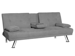 DKlGG Futon Sofa Bed  Convertible Couch for living Room with 2 Cup holders  Gray