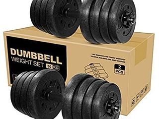 BESPORTBlE Adjustable Dumbbells Total 66lB Barbell Set 2 Pieces Weight Dumbbell with Bar