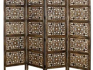 Rajasthan  Antique Brown 4 Panel Handcrafted Wood Room Divider Screen 72x80  Intricately Carved on Both Sides   Reversible  Hides clutter  Adds DAccor    Divides the Room  Antique Brown Rajasthan