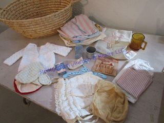 BASKET OF DOll BABY ITEMS