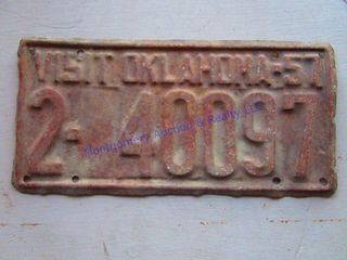 OKlAHOMA lICENSE PlATE  1957