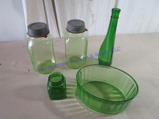 GREEN GlASS JARS   BOWl