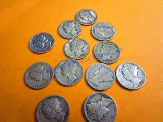 lOT OF 12 MECURY DIMES