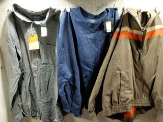 lot of 3 New w  Tags Big   Tall Mens Clothes   Sport Sweatshirt Size 2X  Sport Jacket Size 2X  Casuals Dress Shirt Size 2X