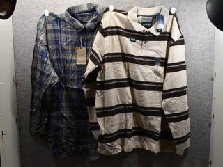 lot of 2 New w  Tags Big   Tall Mens Clothes   Casuals Flannel Shirt Size 3X  St John s Bay Polo Size 3X