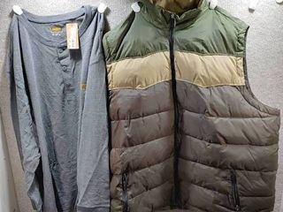 lot of 2 New w  Tags Big   Tall Mens Clothes   Casuals Vest Size 4X  Foundry Pull Over Shirt Size 4X