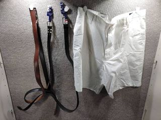 lot of 4 New w  Tags Big   Tall Mens Clothes   Roundtree   Yorke leather Belt Size 48  x2  Unbranded leather Belt Size 48  Claiborne Shorts Size 48