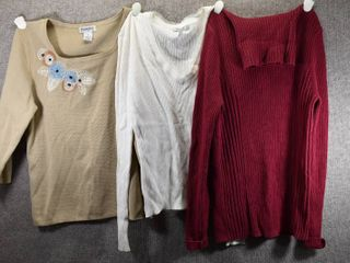 lot of 3 Womens Clothes   Hampshire Studio Women s Shirt Size M  Metro 7 Women s Shirt Size M  Sonoma Women s Sweater Size M