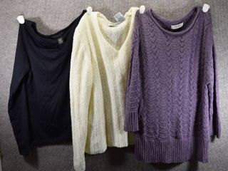 lot of 3 Womens Clothes   Sonoma Women s Sweater Size M  White Stag Women s Sweater Size M  Apostrophe Women s Shirt Size M