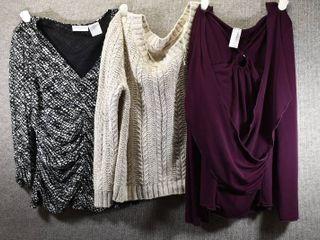 lot of 3 Womens Clothes   Arizona Women s Sweater Size l  Discreet Women s Shirt Size l  Worthington Women s Shirt Size l