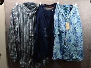 lot of 3 New w  Tags Big   Tall Mens Clothes   Izod Pull Over Shirt Size Xl  Caribbean Dress Shirt Size Xl  Nautica Dress Shirt Size Xl