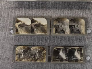 lot of 8 Stereograph Cards   Colorado  Canada  Minnesota   Falls  landscape   Keystone View Company