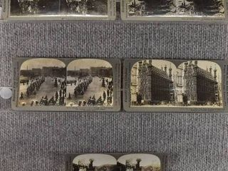 lot of 5 Stereograph Cards   Germany  Belgium  Russia   War  Town Hall   Keystone View Company