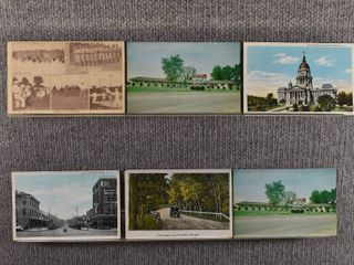 lot of 6 Vintage Postcards   Indiana  Illinois   Postmark 1918  1932