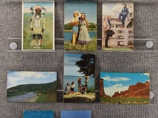 lot of 9 Vintage Postcards   Nebraska  Wyoming  Colorado   Postmark 1958 Indians   Cowboys