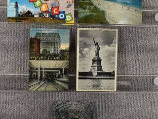 lot of 5 Vintage Postcards   New York  Massachusetts   Postmark 1937 Beaches   Monuments   Includes Real Picture Postcard s s