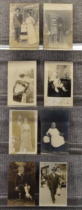 lot of 8 Vintage Postcards   Family Photos   Noted 1921 Names on back   Includes Real Picture Postcard s s