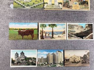 lot of 10 Vintage Postcards   Texas   Postmark 1945  1944 landscape   Historical