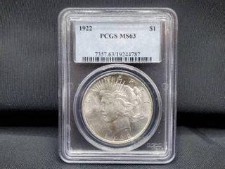 1922  1 PCGS MS 63 Peace Silver Dollar