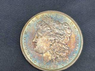 1887 USA Morgan Dollar Silver Coin