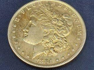 1884 USA Gold Plated Morgan Silver Dollar
