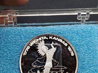 1776 1976 The City of Wichita Kansas  American Revolution Bicentennial Coin  999 Fine Silver