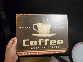 Metal Man Cave Sign and Metal Coffee Sign